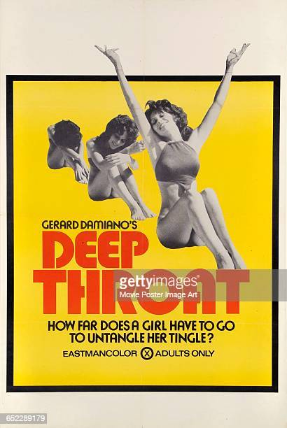 Image contains suggestive contentActress Linda Lovelace appears on a poster for the pornographic film 'Deep Throat' written and directed by Gerard...