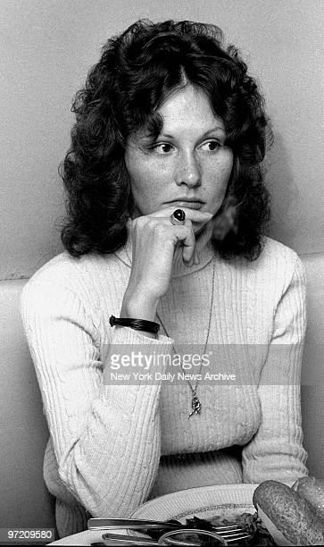 Actress Linda Lovelace being interviewed at Delsomma Restaurant 266 W 47th Street