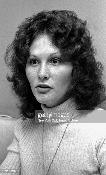Actress Linda Lovelace being interviewed at Delsomma Restaurant, 266 W. 47th Street.
