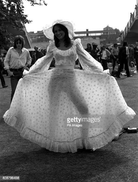 Actress Linda Lovelace star of the American Porn film 'Deep Throat' wearing a see through skirt at Lords Cricket Ground in London
