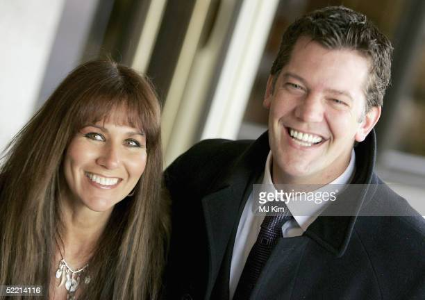 Actress Linda Lusardi and husband actor Sam Kane arrive at the Norman At Ninety Tribute Luncheon at the Royal Lancaster Hotel on February 18 2005 in...