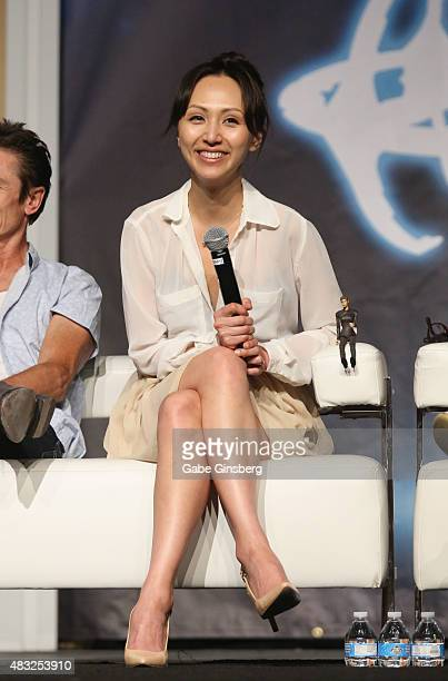 Actress Linda Park speaks during the Star Trek Enterprise panel at the 14th annual official Star Trek convention at the Rio Hotel Casino on August 6...