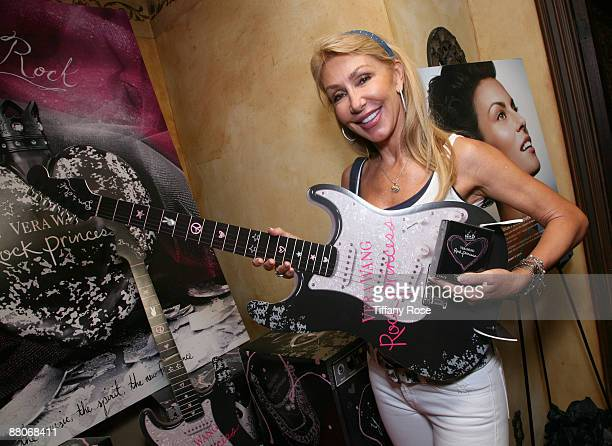 Actress Linda Thompson rocks out on a Vera Wang Rock Princess guitar at Melanie Segal's MTV Movie Awards House Presented by Rev 3 - Day 2 on May 29,...