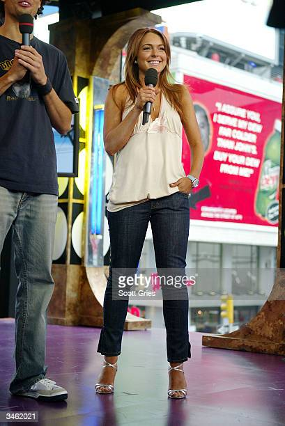 Actress Lindsay Lohan appears on stage during MTV's Total Request Live at the MTV Times Square Studios April 23 2004 in New York City