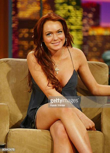 Actress Lindsay Lohan appears on 'The Tonight Show with Jay Leno' at the NBC Studios June 8 2004 in Burbank California