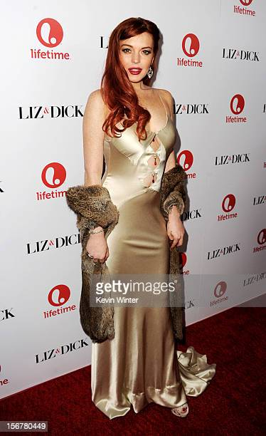 Actress Lindsay Lohan arrives at a party to celebrate Lifetime's Liz Dick at the Beverly Hills Hotel on November 20 2012 in Beverly Hills California