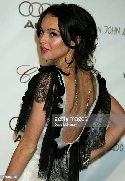 Actress Lindsay Lohan arrives at the 14th Annual Elton John Academy Awards viewing party held at the Pacific Design Center on March 5 2006 in West...
