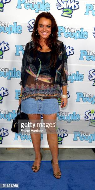 """Actress Lindsay Lohan arrives at the 1st Annual Teen People """"Young Hollywood"""" Issue party held on August 7, 2004 at the Teen People mansion in the..."""