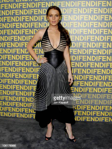 Actress Lindsay Lohan arrives at the Fendi Rodeo Drive Flagship Store's 'Ten Baguettes For Ten Years' Exhibition Auction Benefiting LACMA at Fendi...