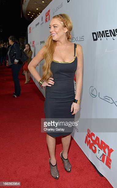 Actress Lindsay Lohan arrives at the premiere of 'Scary Movie V' presented by Dimension Films in partnership with Lexus and Chambord at the Cinerama...