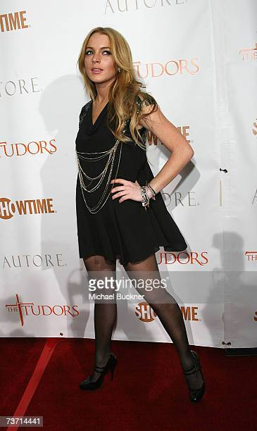 Actress Lindsay Lohan arrives at the premiere screening of Showtime's The Tudors at the Egyptian Theatre on March 26 2007 in Los Angeles California