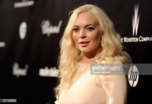 Actress Lindsay Lohan arrives at The Weinstein Company's 2012 Golden Globe Awards After Party held at The Beverly Hilton hotel on January 15 2012 in...