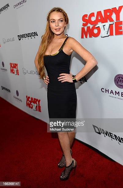 Actress Lindsay Lohan arrives for the premiere of Dimension Films' Scary Movie 5 at ArcLight Cinemas Cinerama Dome on April 11 2013 in Hollywood...