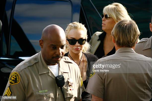 Actress Lindsay Lohan arrives to court for a preliminary hearing on February 23 2011 in Los Angeles California Lohan is charged with a felony count...
