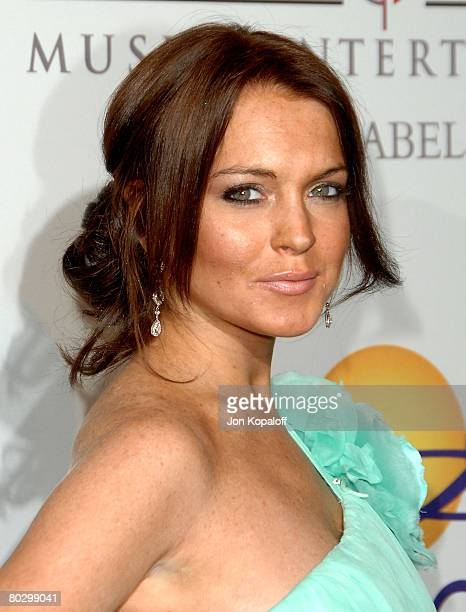 Actress Lindsay Lohan arrives to the Clive Davis PreGrammy Party at the Beverly Hilton Hotel on February 9 2008 in Beverly Hills California