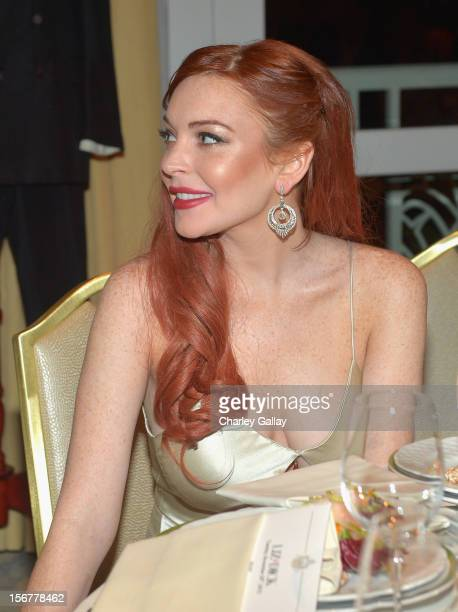 Actress Lindsay Lohan attends a private dinner for the Lifetime premier of Liz Dick at Beverly Hills Hotel on November 20 2012 in Beverly Hills...