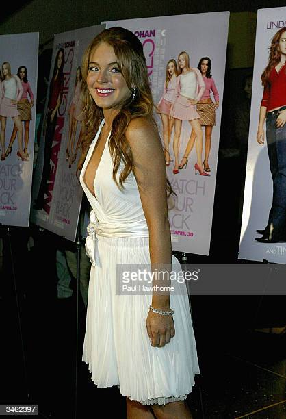 Actress Lindsay Lohan attends a private screening of Mean Girls on April 23 2004 at Loews Lincoln Square Theater in New York City