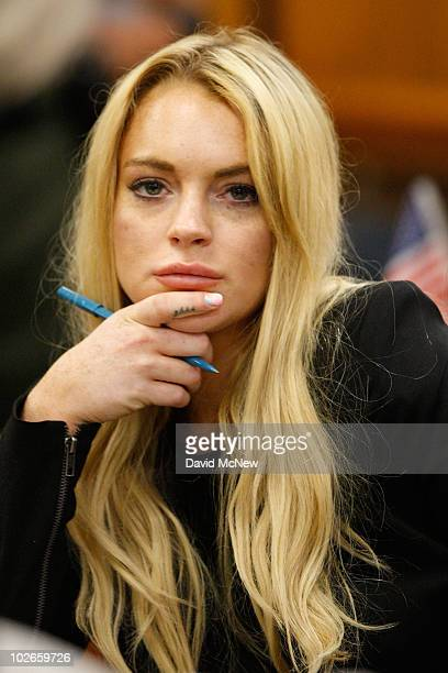 Actress Lindsay Lohan attends a probation revocation hearing at the Beverly Hills Courthouse on July 6 2010 in Los Angeles California Lindsay Lohan...