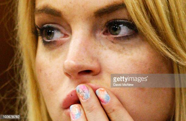 Actress Lindsay Lohan attends a probation revocation hearing at the Beverly Hills Courthouse on July 6, 2010 in Los Angeles, California. Lindsay...