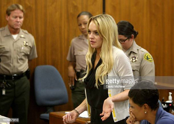 Actress Lindsay Lohan attends her probation revocation hearing at the Beverly Hills Courthouse on July 6, 2010 in Los Angeles, California. Lindsay...
