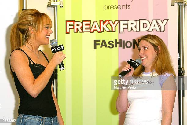 Actress Lindsay Lohan attends Macy's and Teen People's 'Freaky Friday' Mother/Daughter Fashion Show at Macy's Herald Square August 6 2003 in New York...