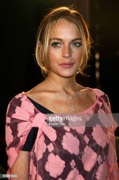 Actress Lindsay Lohan attends the Charlotte Ronson Spring/Summer 2009 fashion show at the National Stadium on October 22, 2008 in Tokyo, Japan.