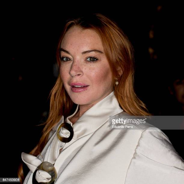 Actress Lindsay Lohan attends the 'Devota Lomba' catwalk at IFEMA on September 15 2017 in Madrid Spain