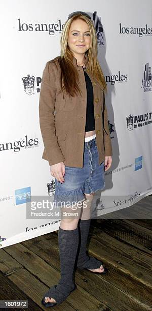 Actress Lindsay Lohan attends the International Day of the Child at the Santa Monica Pier on November 10 2002 in Santa Monica California The event...