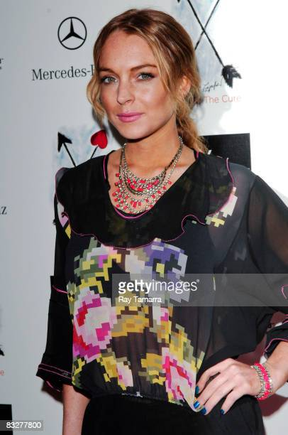 Actress Lindsay Lohan attends the Saks Fifth Avenue's 10th annual Key to the Cure charity shopping weekend launch at Top of the Rock Rockefeller...