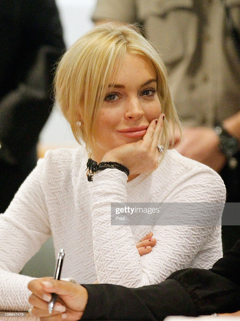 Actress Lindsay Lohan during her arraignment for a felony count of grand theft on February 9, 2011 in Los Angeles, California. Lohan was charged with a felony count of grand theft for allegedly stealing a $2,500 necklace from a jewelry store in Venice.