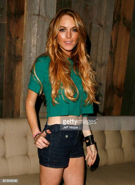 Actress Lindsay Lohan during the Apple Lounge grand opening at Apple Lounge on August 14, 2008 in West Hollywood, California.