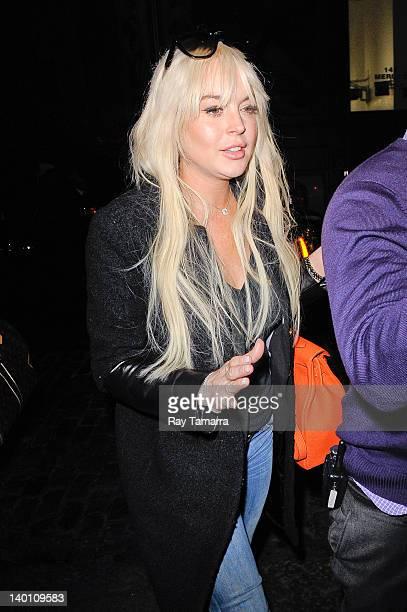 Actress Lindsay Lohan enters a Soho hotel on February 27, 2012 in New York City.