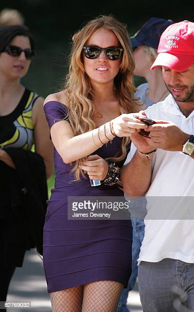 Actress Lindsay Lohan films on location for Ugly Betty in Central Park on September 10 2008 in New York City
