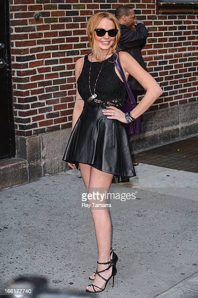 """Actress Lindsay Lohan leaves the """"Late Show With David Letterman"""" taping at the Ed Sullivan Theater on April 9, 2013 in New York City."""