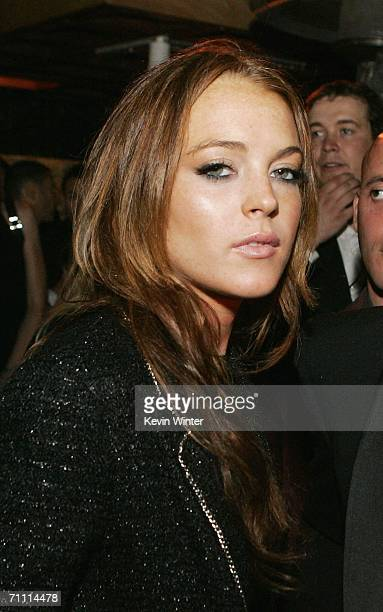 Actress Lindsay Lohan poses at the International Launch of Dom Perignon Rose Vintage 1996 Champagne by Karl Lagerfeld on June 2 2006 in Beverly Hills...