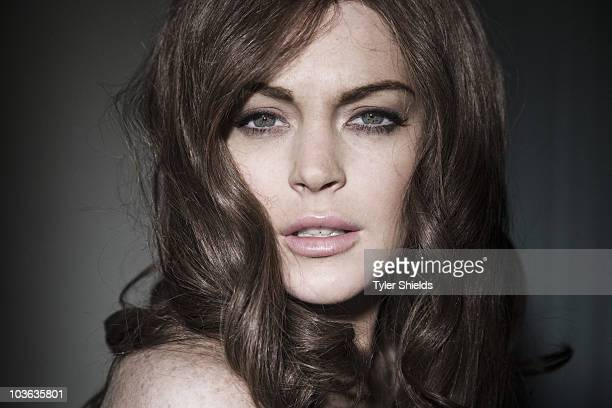 """Actress Lindsay Lohan poses for a portrait session in character as Linda Lovelace for her new role in """"Inferno"""" in Los Angeles for Self Assignment."""