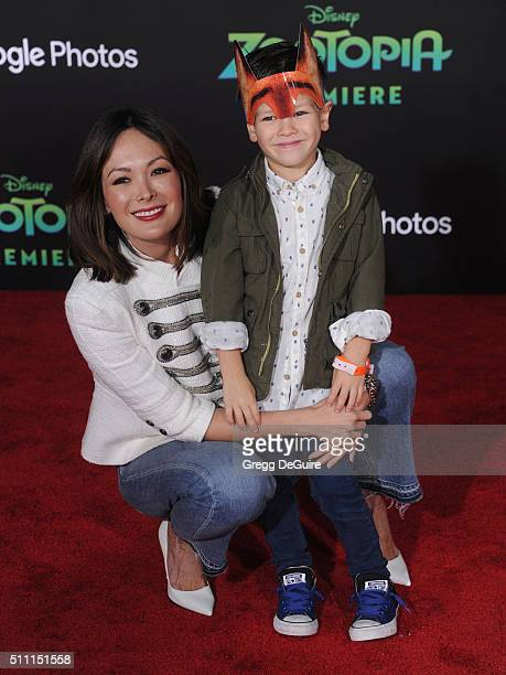 Actress Lindsay Price and Hudson Stone arrive at the premiere of Walt Disney Animation Studios' Zootopia at the El Capitan Theatre on February 17...