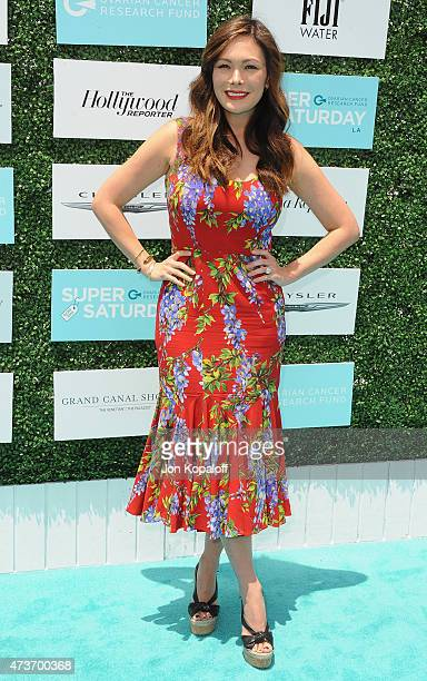 Actress Lindsay Price arrives at the Ovarian Cancer Research Fund's 2nd Annual Super Saturday LA at Barker Hangar on May 16 2015 in Santa Monica...