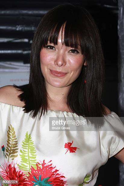 Actress Lindsay Price poses backstage at The Hit Musical Xanadu on Broadway at The Helen Hayes Theater on February 27 2008 in New York City