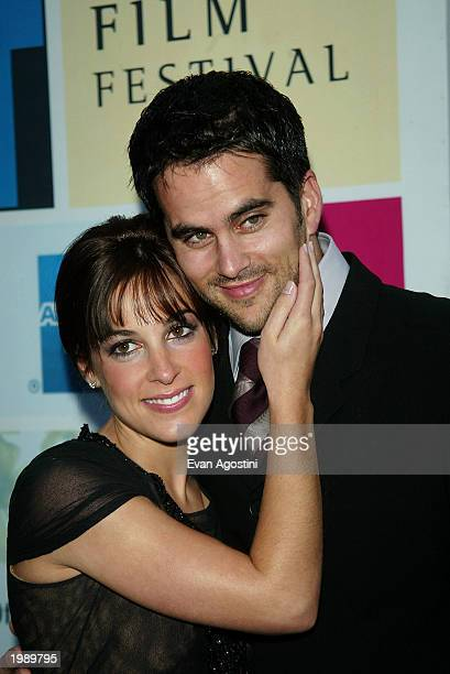 Actress Lindsay Sloane with fiance Dar Rollins attend the world premiere of 'The InLaws' during the 2003 Tribeca Film Festival at the Tribeca...