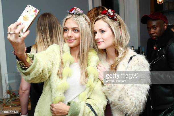 Actress Lindsay Solmer and blogger Madeline Minnich pose with floral accessories as Bronwen Smith of B Floral and the TODAY Show's Lilliana Vazquez...