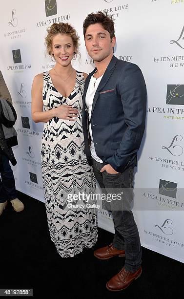 Actress Lindsey Godfrey and actor Robert Adamson attends the launch of Jennifer Love Hewitt's new maternity line, 'L By Jennifer Love Hewitt' at A...