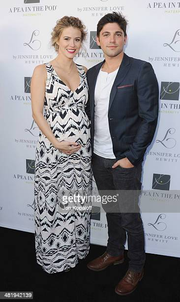 """Actress Lindsey Godfrey and Robert Adamson arrive at A Pea In The Pod And Jennifer Love Hewitt Celebrate The Launch Of """"L By Jennifer Love Hewitt"""" at..."""