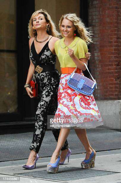 Actress Lindsey Gort and Actress AnnaSophia Robb are sighted filming The Carrie Diarieson July 25 2013 in New York City