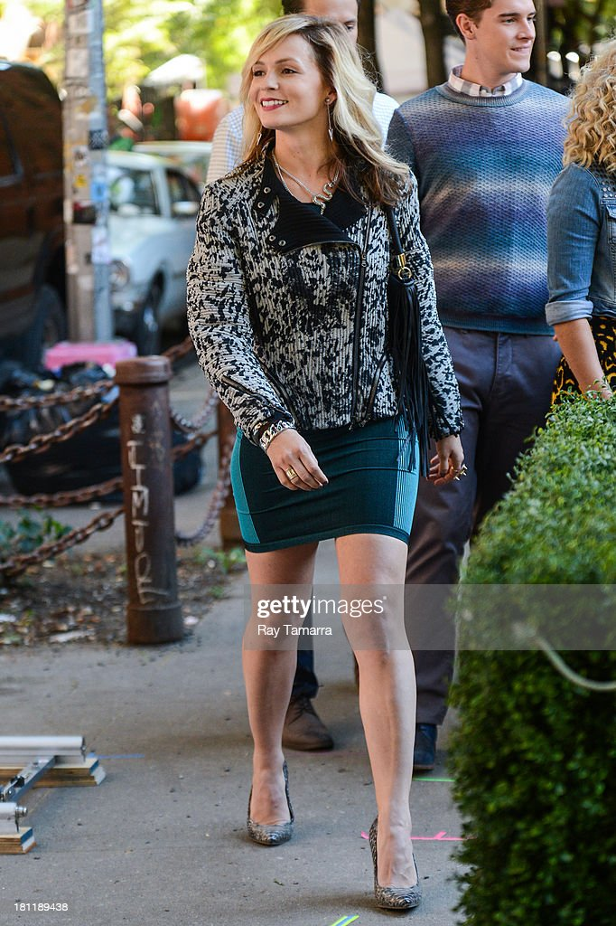 Actress Lindsey Gort enters 'The Carrie Diaries' movie set at the Lower East Side on September 19, 2013 in New York City.