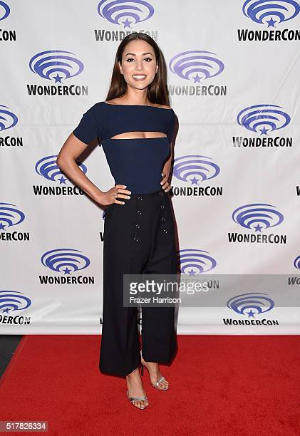 Actress Lindsey Morgan attends The 100 panel at WonderCon at Los Angeles Convention Center on March 27 2016 in Los Angeles California