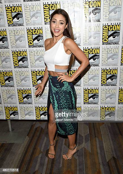 Actress Lindsey Morgan attends the 'The 100' press room during ComicCon International 2015 at the Hilton Bayfront on July 10 2015 in San Diego...