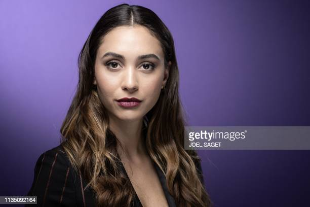 US actress Lindsey Morgan poses for a photo session during the 2nd edition of the Cannes International Series Festival in Cannes southern France on...