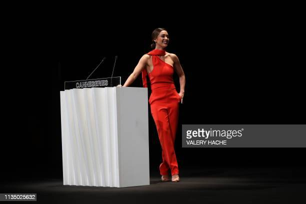 Actress Lindsey Morgan reacts as she receives the Seriously Award during the the opening ceremony of the 2nd edition of the Cannes International...