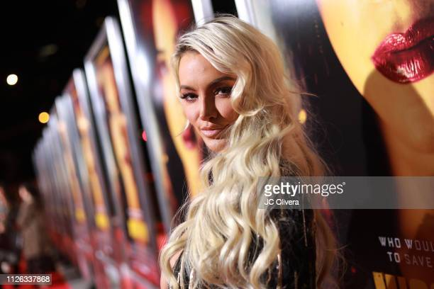 Actress Lindsey Pelas attends the premiere of Columbia Pictures' 'Miss Bala' at Regal LA Live Stadium 14 on January 30, 2019 in Los Angeles,...